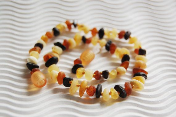 Raw amber teething necklace baby teething by LovelyCraftsHome