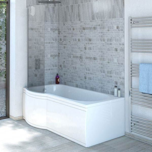 Concerto P Shaped Small Shower Bath - 1500mm with Screen + Panel ...