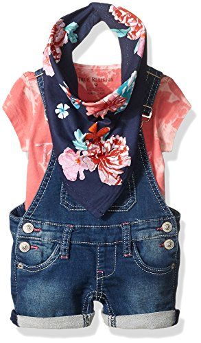 0d04eb2ca Baby Girl Clothes True Religion Girls' 3pc Overall Set, Fuchsia, 6 Months