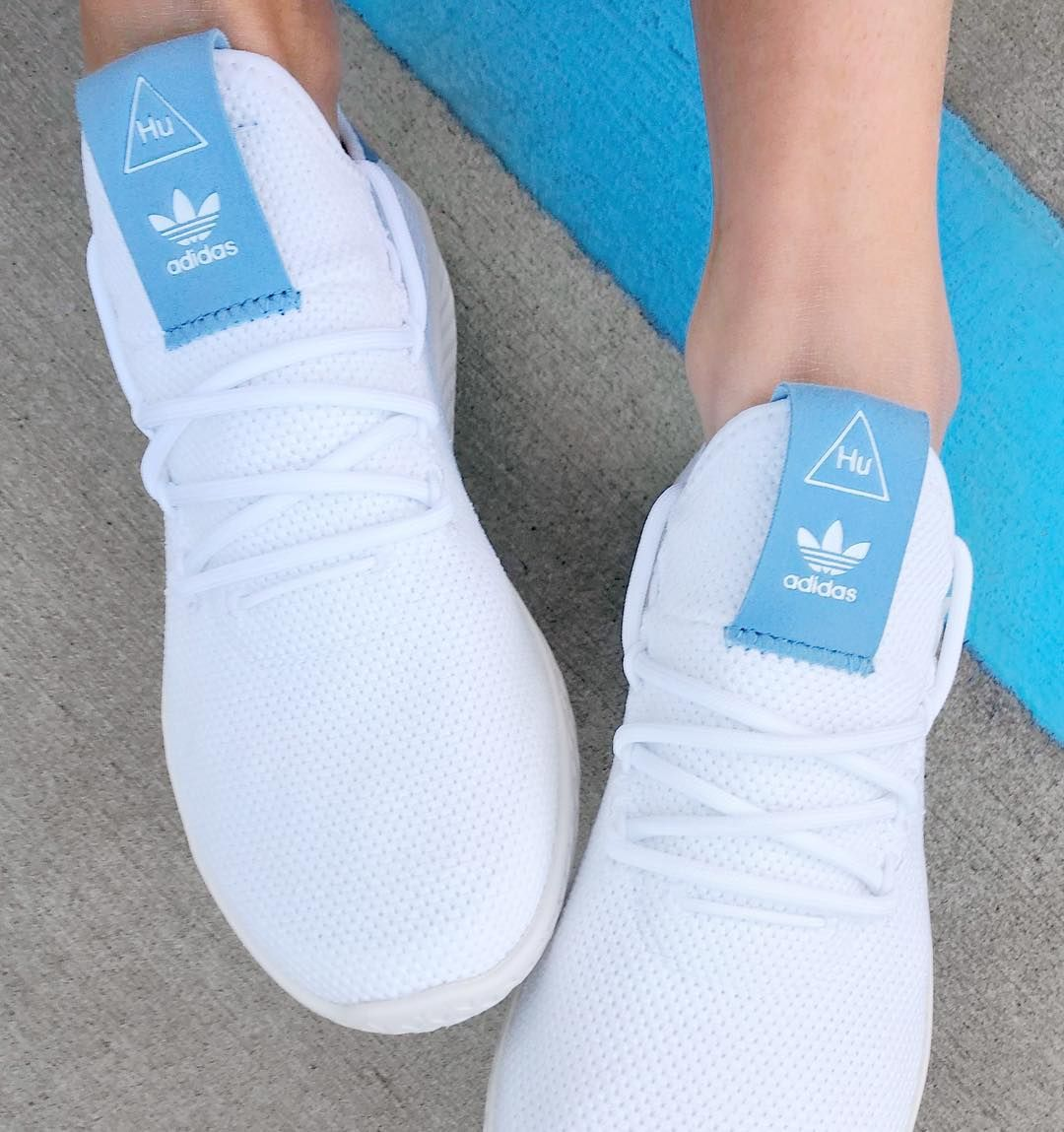 Adidas Originals Pharrell Williams Tennis Hu Blue In 2020 Tennis Shoes Outfit Sneakers Urban Style Outfits