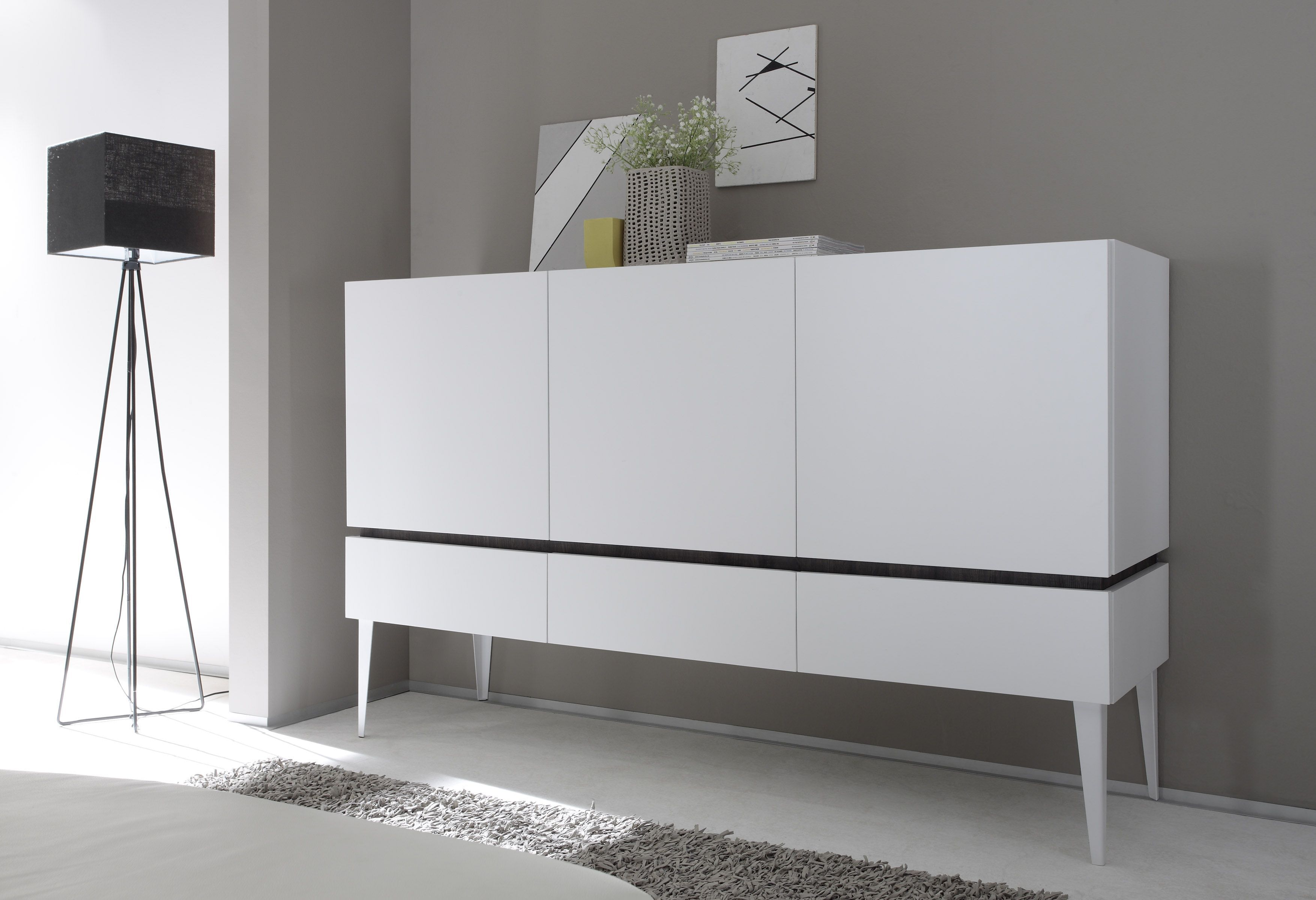Sideboard Weiss/ Wenge Woody 1201081 Holz Modern Jetzt