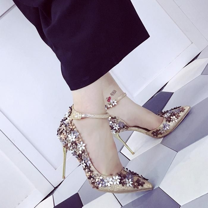 7fed873bfd Flowers Pointed Toe Low Cut Ankle Wrap Stiletto High Heels #outfits  #fashion #ohyoursfashion #onlineshopping #girls