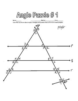 Parallel Lines cut by a Transversal - Printable Missing Angle ...