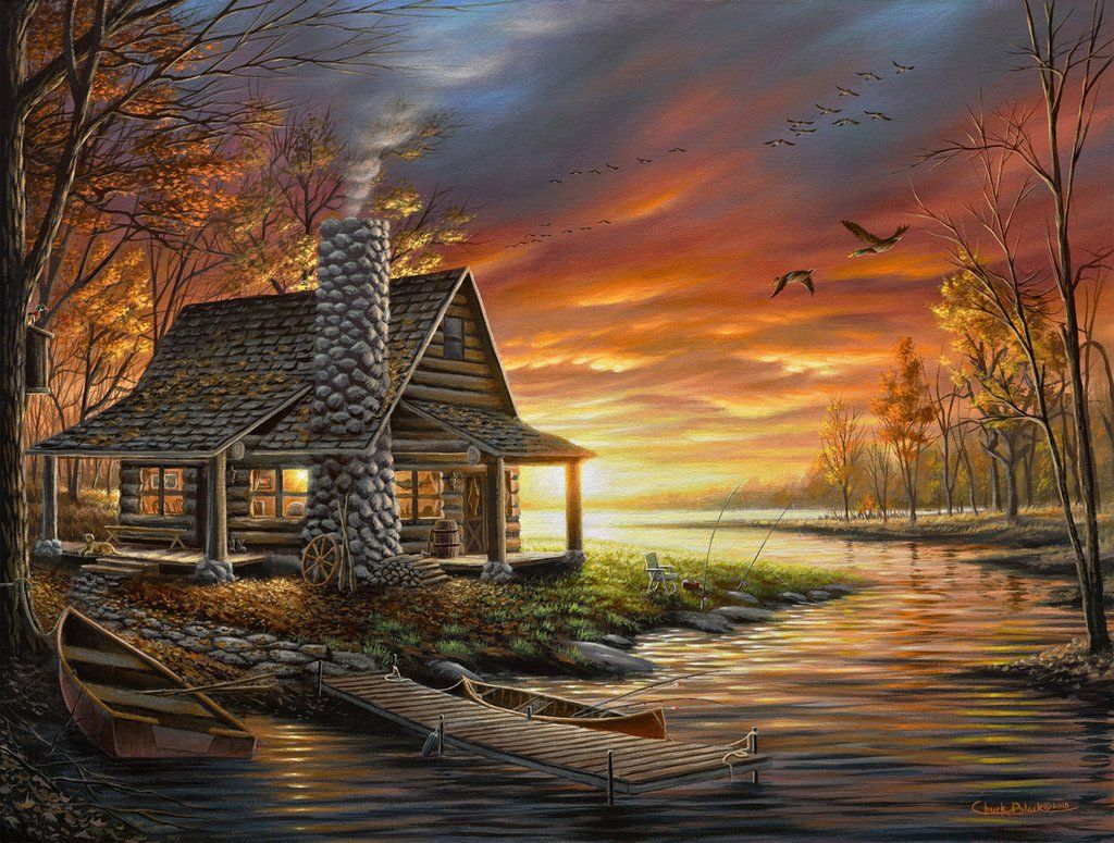 Rustic Lake Cabin Art Print The Perfect Spot Scenery