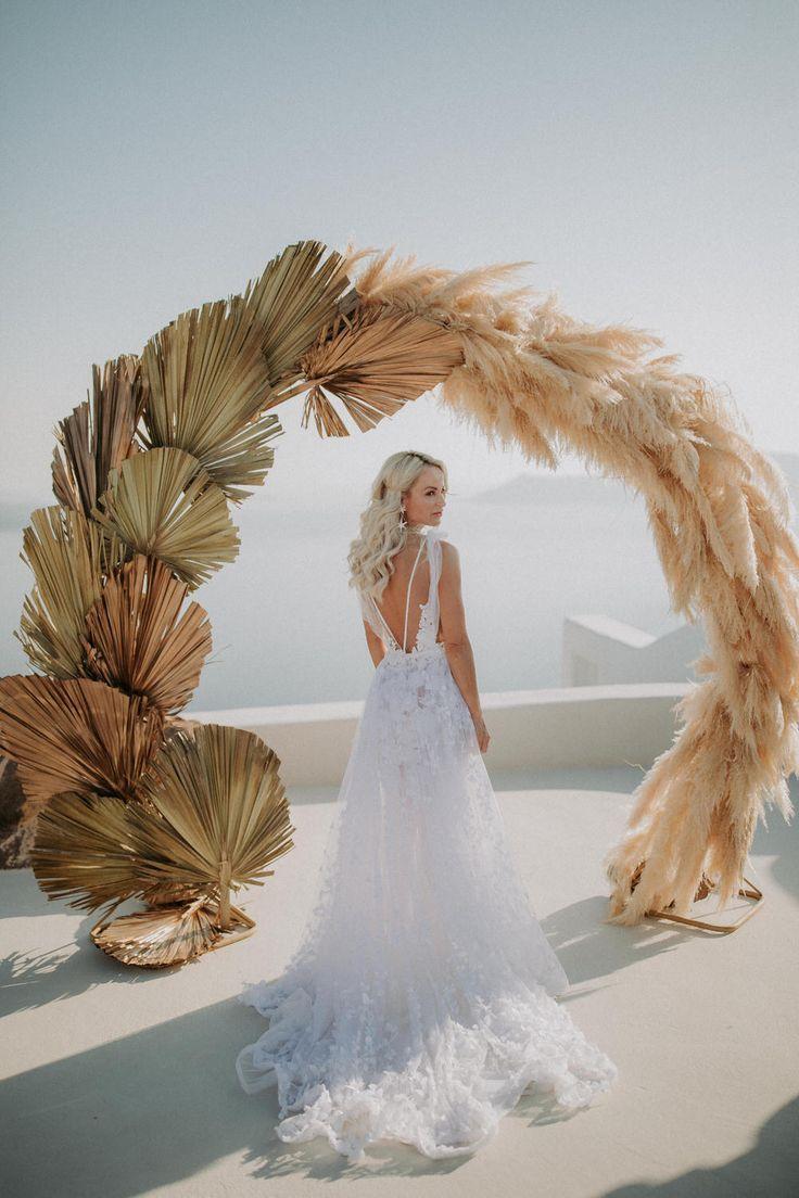 Intimate Destination Wedding in Santorini Bursting with Pampas Grass ⋆ Ruffled