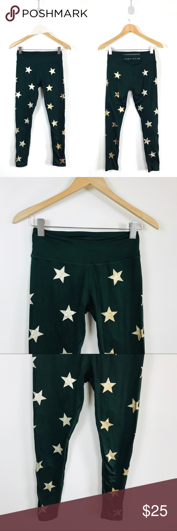 "4b0cd6731fcb98 Jessica Simpson Small Warm Up Green Star Leggings Jessica Simpson Small  Dark Green Star Leggings Hunter green color with gold stars Back zippered  pocket 26"" ..."