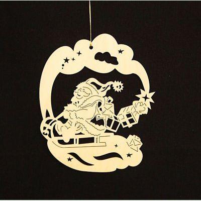 Fensterbild klein weihnachtsmann auf schlitten - Schlitten basteln pappe ...
