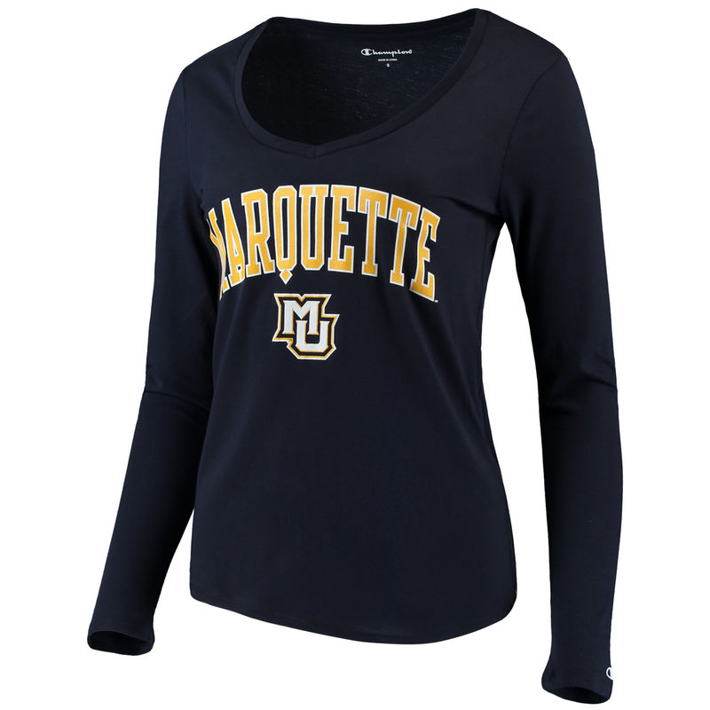 Women S Champion Navy Marquette Golden Eagles Arch Logo Long