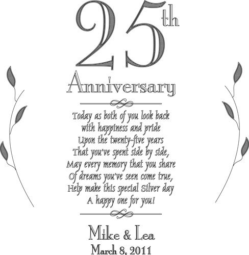 25th Anniversary Poems For Cards