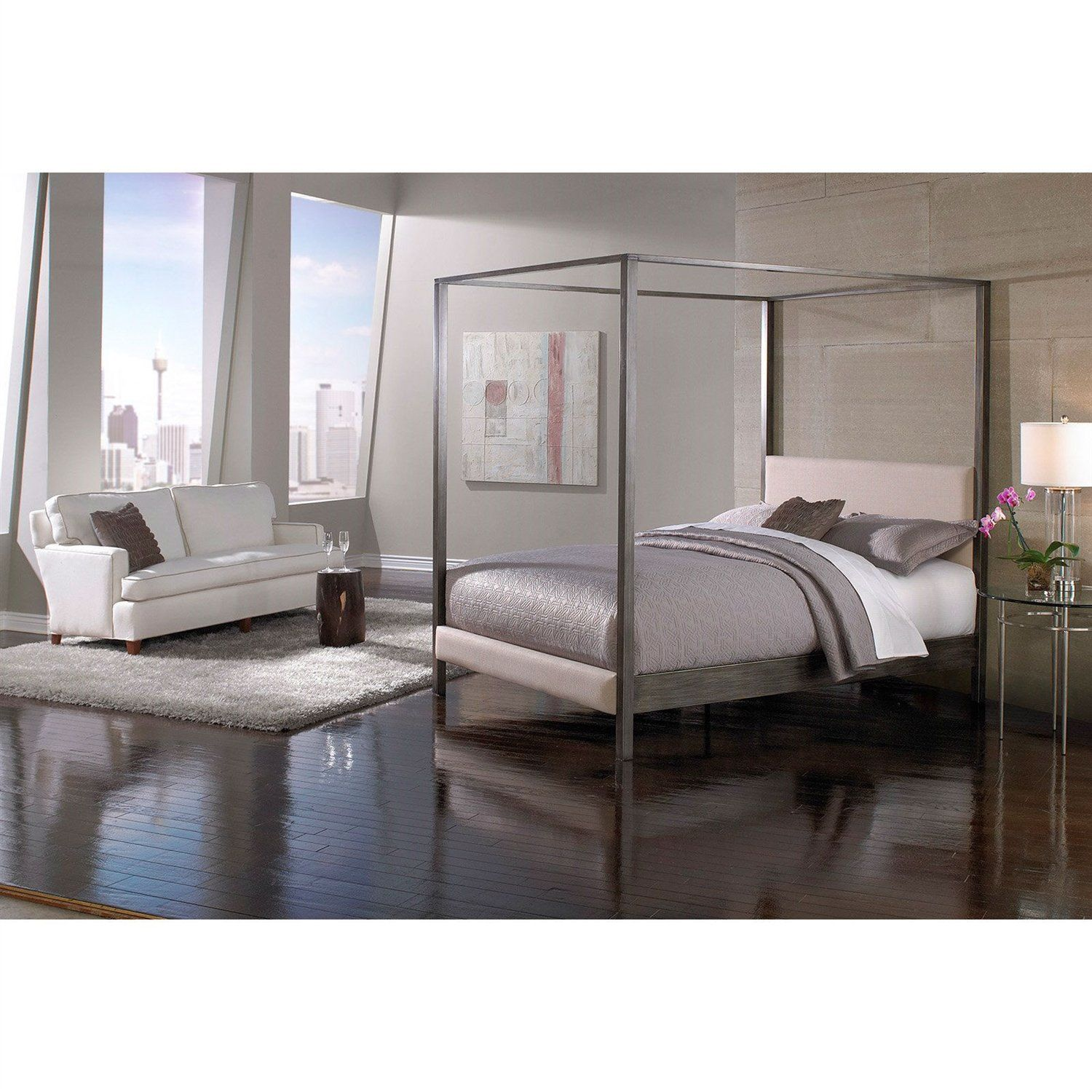 King size Modern Metal Platform Canopy Bed Frame with