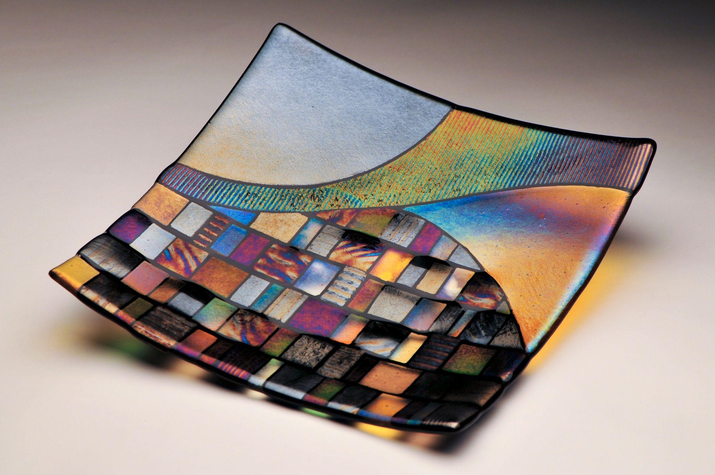 Fused glass plate by Prairie Glass Art Studio