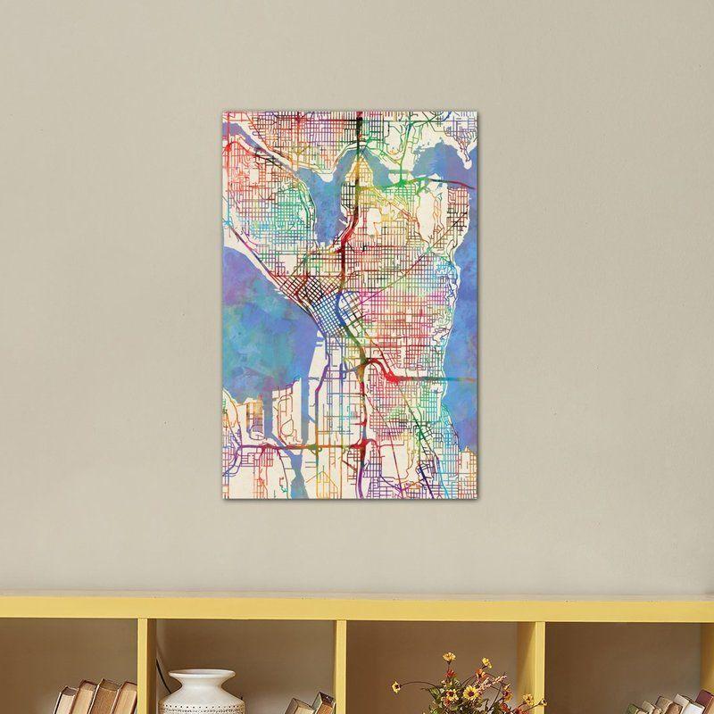 Urban Rainbow Street Map Series Seattle Washington Usa Graphic Art On Wrapped Canvas Art Graphic Art Street Map