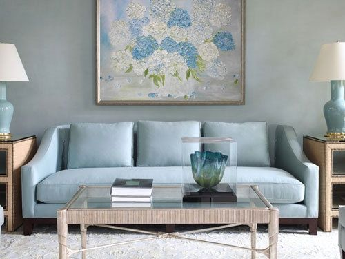 Hydrangea Painting Original Hydrangea Painting Custom Hydrangea Painting Home Decor Blue Couch Living Room Blue Sofa Living Blue Living Room