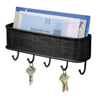 Wish | Best Seller!Design Graceful Elegant Bronze Mail & Letter Holder Key Rack Organizer for Entryway Retro Atmosphere