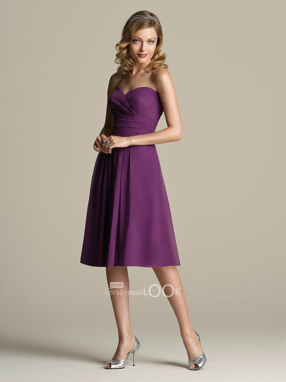 a line purple chiffon bridesmaid dress with sweetheart bodice ...