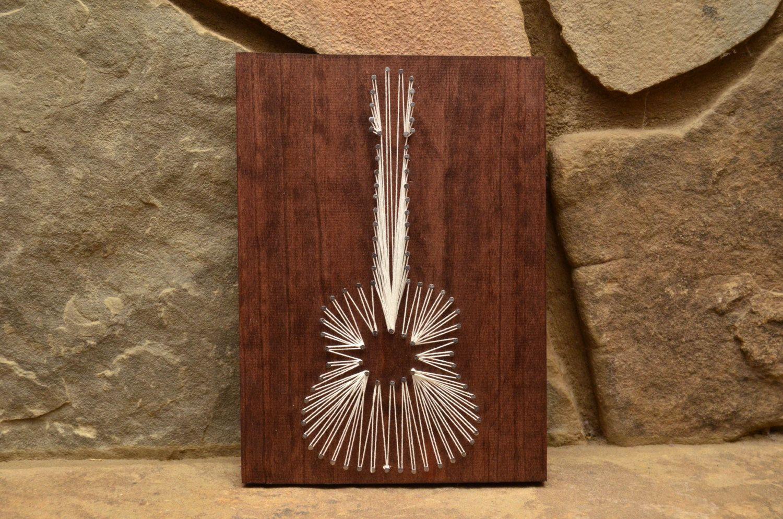 Custom Wood White Guitar String Art Home Decor By