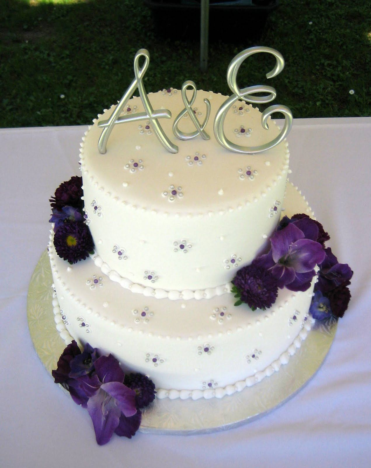 Three Purple Wedding Cakes With Images Purple Wedding Cakes
