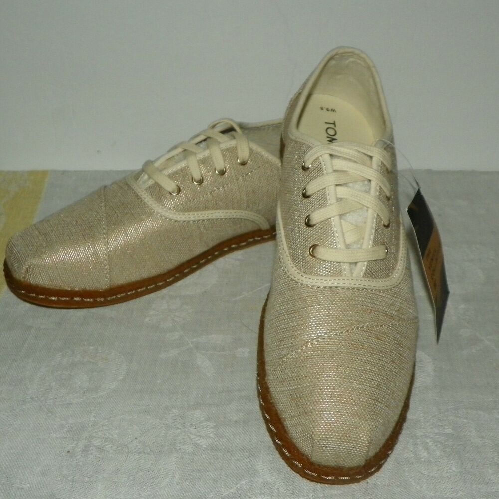 Toms Womens Cordones Flats Shoes Size 9 5 Natural Metallic Woven