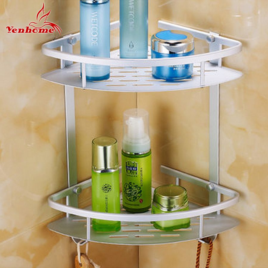Dual Layer Bathroom Shelf Basket Kitchen Bathroom Shelf Wall