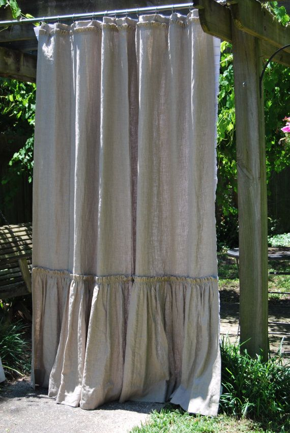 74x96 Phoebe Style Shower Curtain In Flax Linen