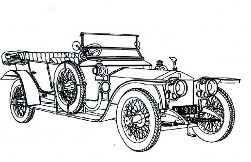 Classic Cars With Classic Doors And Wheels Coloring Pages