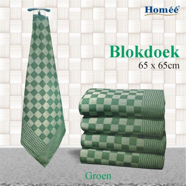 Blokdoeken Pompdoeken Theedoeken - Groen -  65x65cm