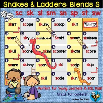 S Blends Game: Snakes and Ladders (sc,sk, sn,sp, sl, sm ...