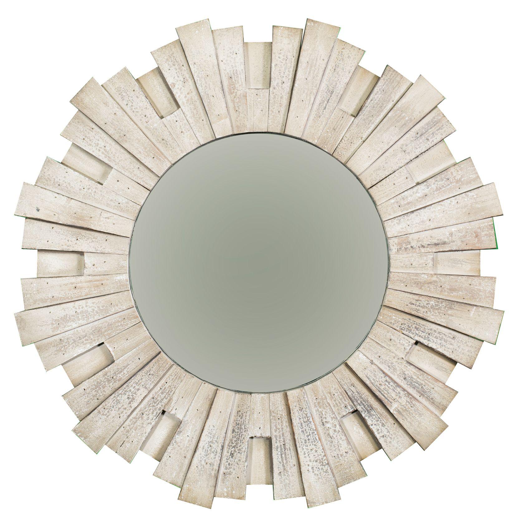 Round Aztec Style 3D Starburst Wall Mirror