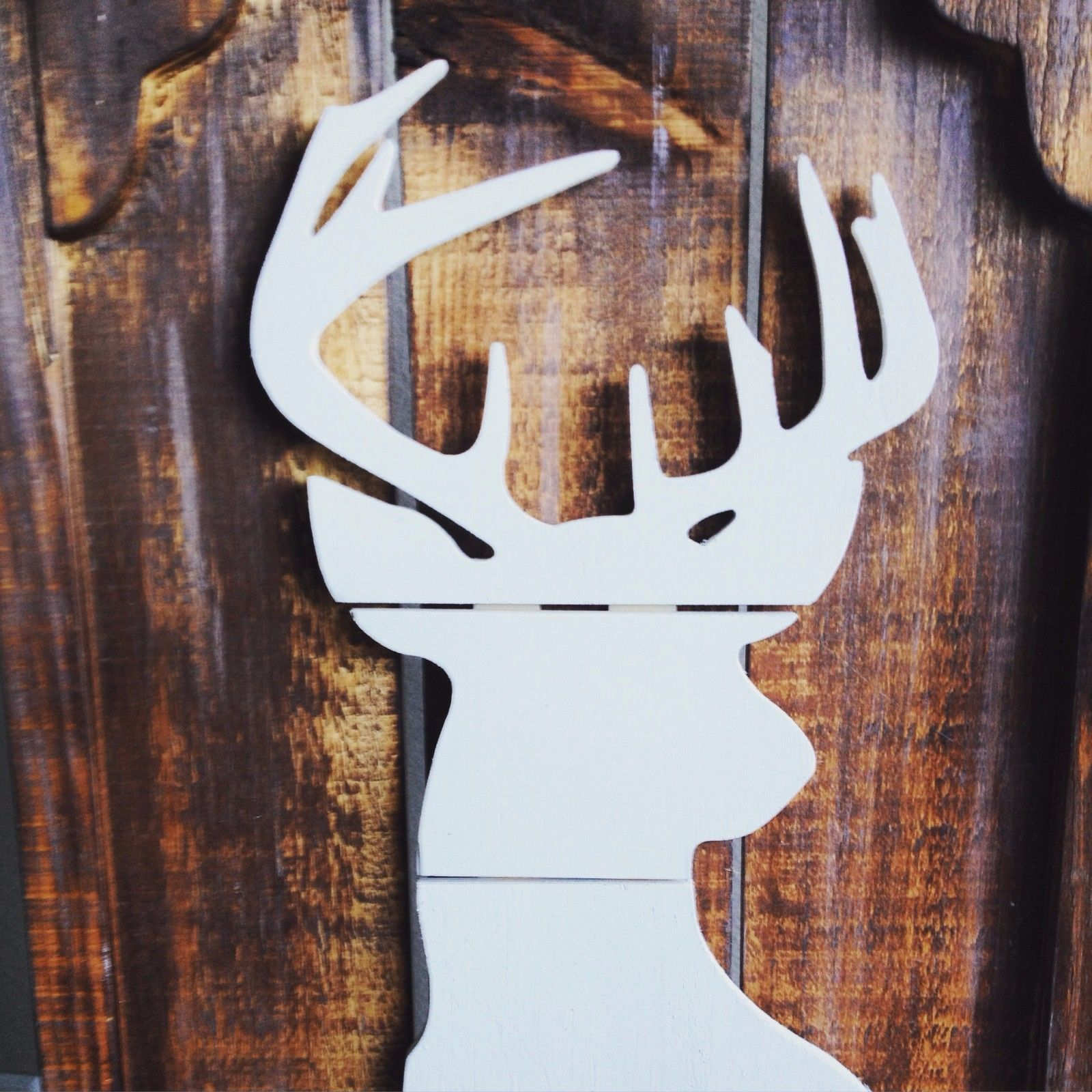 Diy home decor wood  Rustic Home Decor Wooden Sign Deer Head Deer Sign Hunting Decor