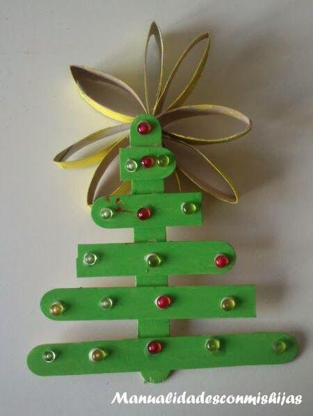 Manualidades con mis hijas Pinos de navidad con palitos
