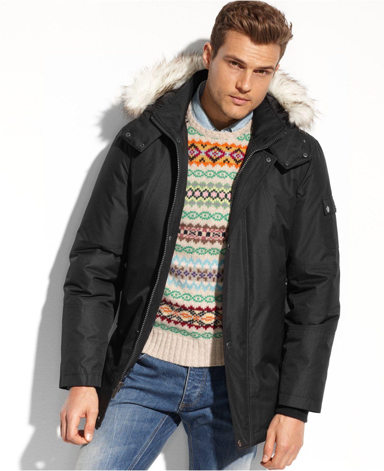 Buffalo David Bitton Coat Faux Fur Trimmed Hooded Performance Parka Coats Jackets Men Macy S Online Mens Clothing Mens Fur Coat Mens Winter Coat [ 1616 x 1320 Pixel ]