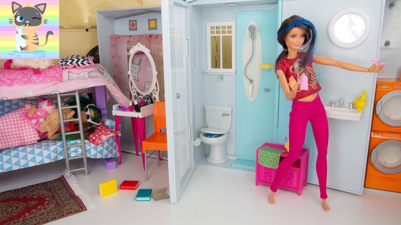 Barbie Twin Sisters Skipper Alex Morning Routine Getting Ready For School Bathroom Sets Barbie Dolls Barbie Stories