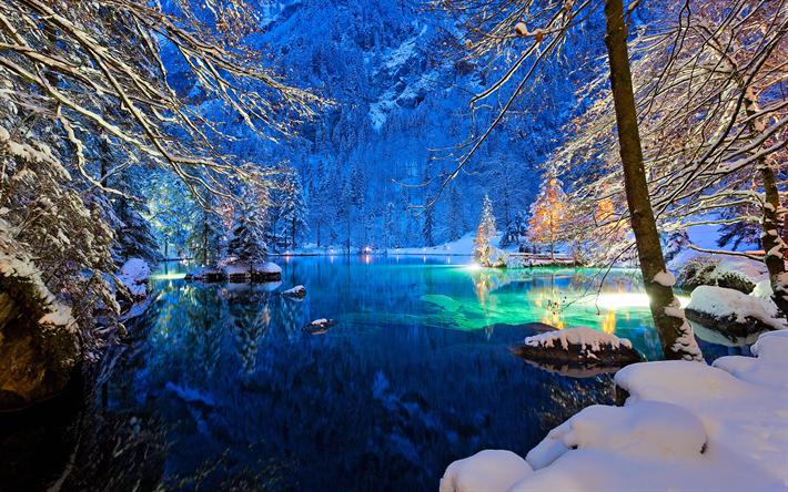 Download wallpapers Switzerland, 4k, winter, lake, night