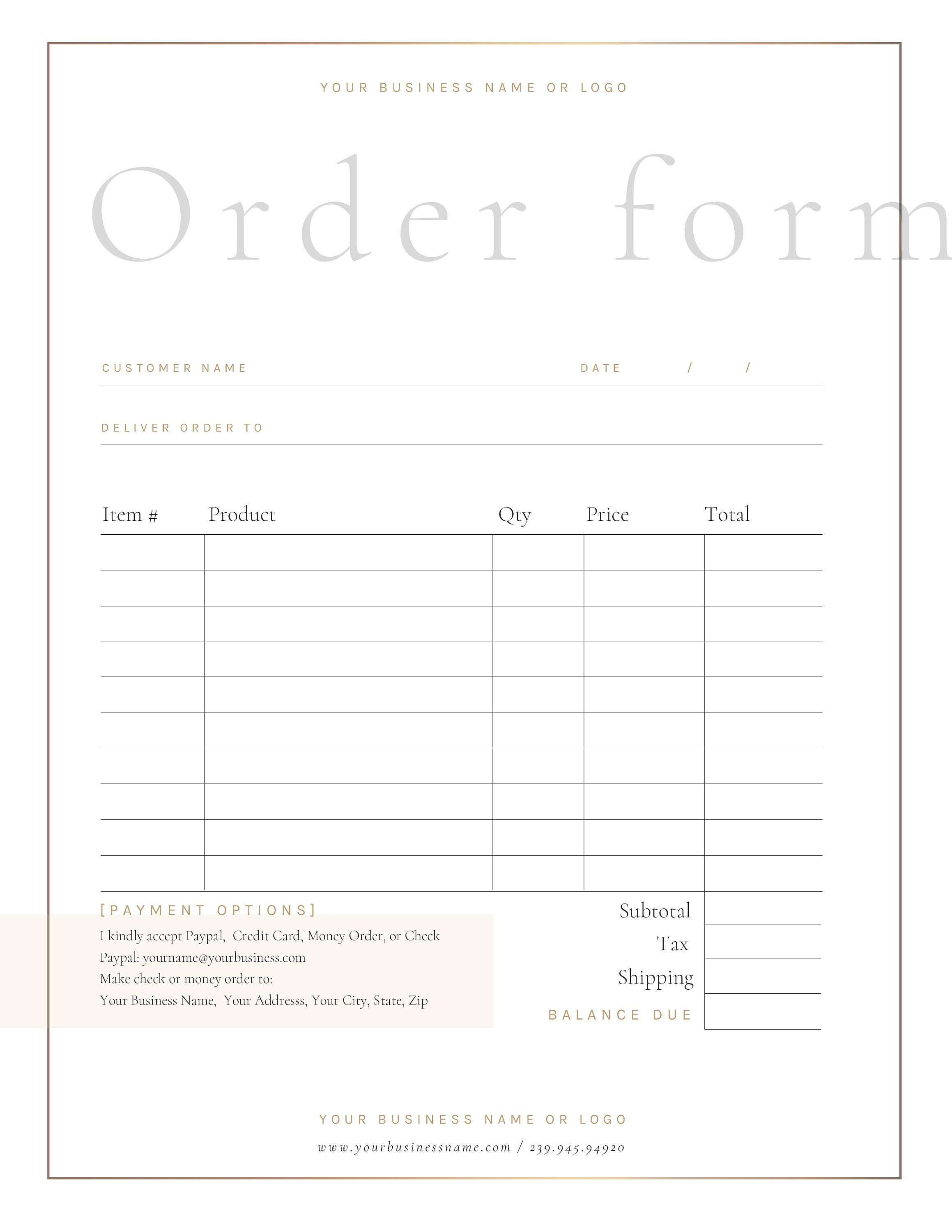 Order Form Template Retail Order Form Simple Invoice Custom Etsy Order Form Template Order Form Photoshop Template Design