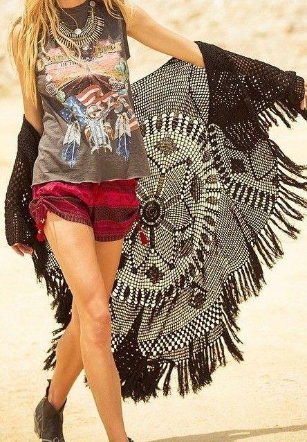 abe6aa4bd467f rocker tee + crochet cardi | Bohemian Hippie Threads | Pinterest ...
