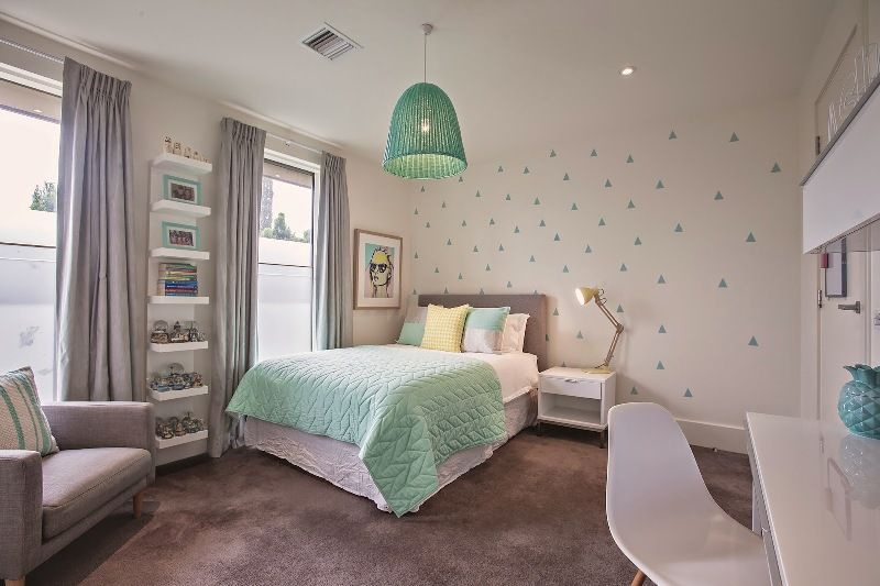 Fresh Mint And Grey Modern Big Girl S Bedroom Girls Bedroom