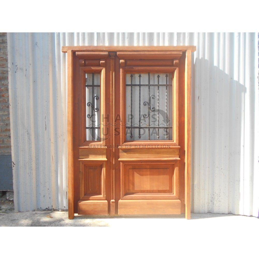 Puerta de frente de madera antigua en cedro con rejas - Puertas usadas de madera ...