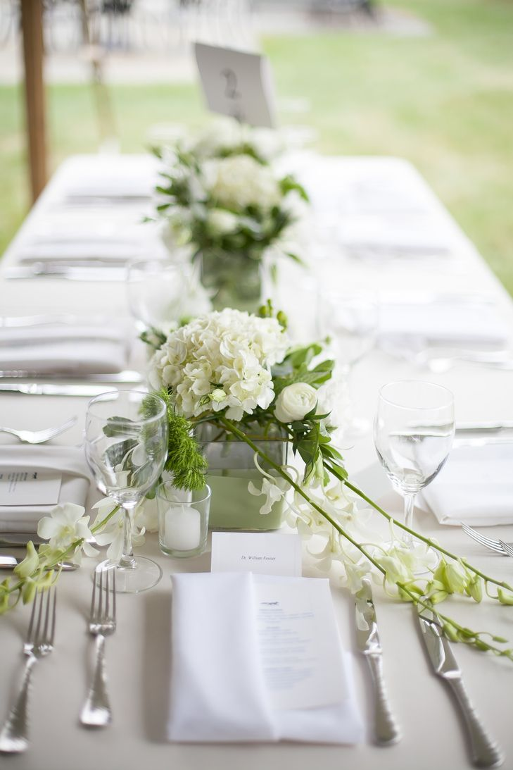 Classic White and Green Reception Tablescape   Redshaw Flower Shop ...