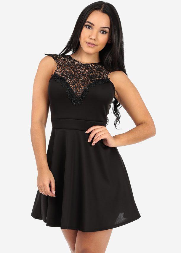 Shop now: http://www.modaxpressonline.com/Black-Crochet-Flare-Dress-81p108070.htm #dresses #vday #datenight