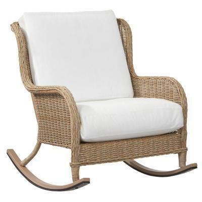 Hampton Bay Lemon Grove Custom Wicker Outdoor Rocking Chair With Cushi Outdoor Wicker Rocking Chairs Wicker Rocking Chair Hampton Bay Patio Furniture