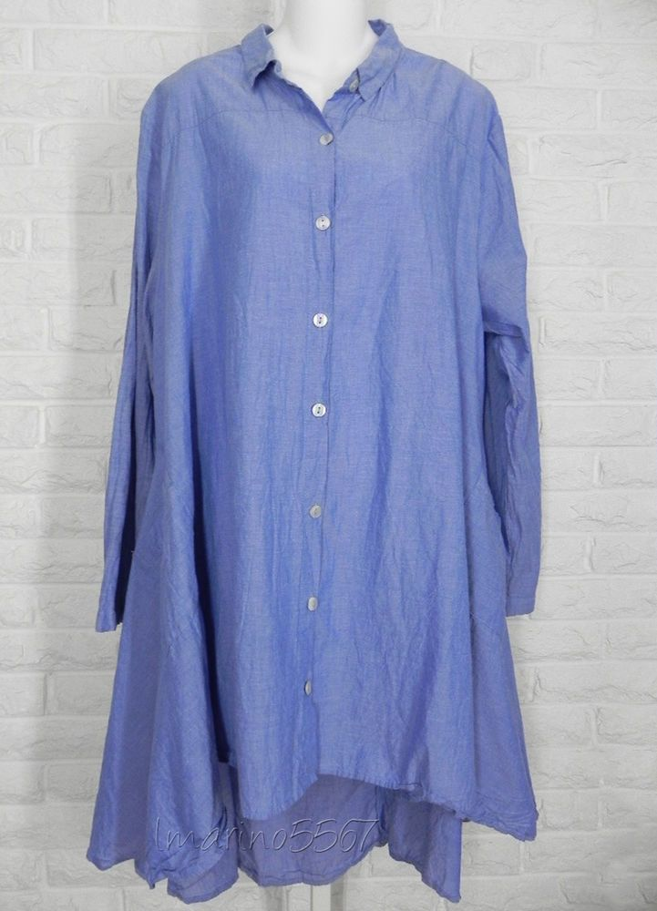 a637c9e7 TULIP Button Down Lulu Tunic High Low Hem Blue Chambray NWT Ladies XLarge  #Tulip #Tunic #Casual