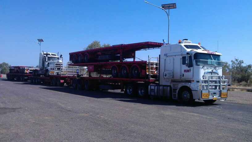 """Hunt Specialised Transport"" Kenworth K200 and T904 return trip from Northern Territory Australia, double stacked road train"