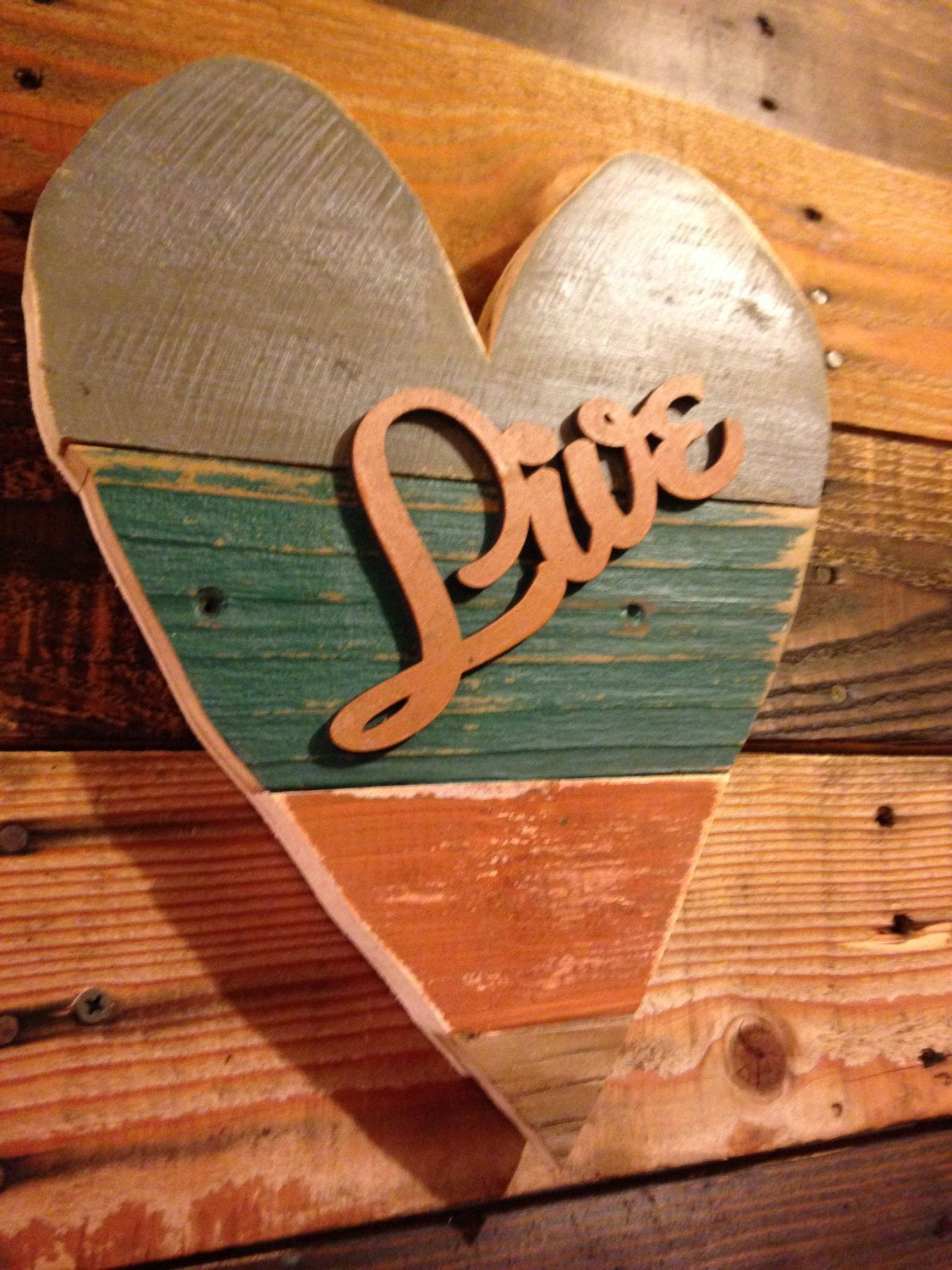 Heart wood recycled slats rustic distressed heart reclaimed wood