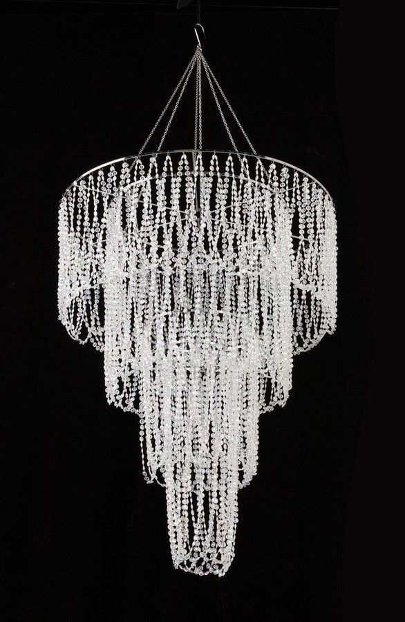 Four Tier Large Iridescent Clear Beaded Chandelier 4 5 Feet Long