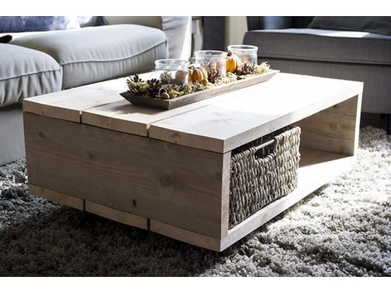 Steigerhouten salontafel op wielen 60x80 woondecoraties for Steigerhout salontafel