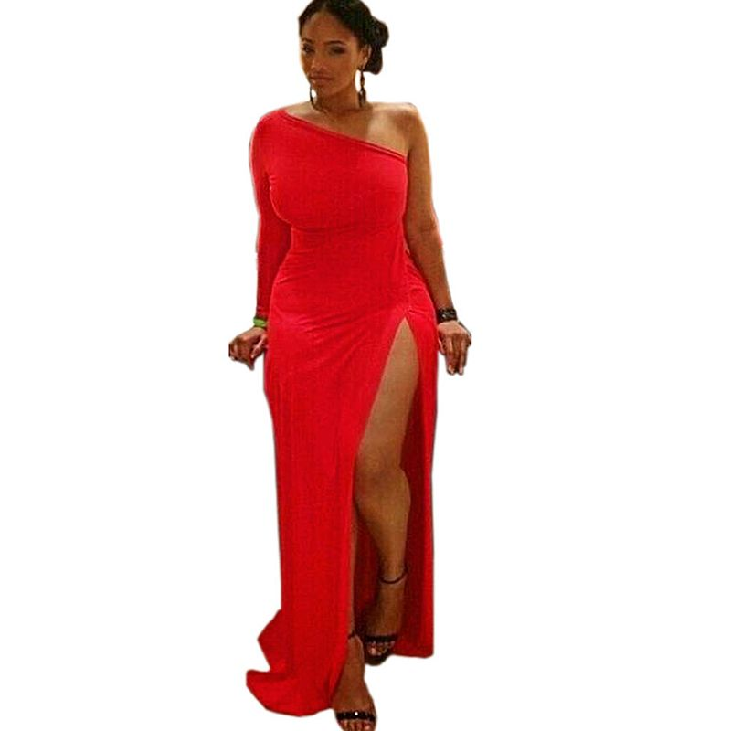 Vivica Red One Shoulder Bodycon Club Dress One Shoulder Dresses