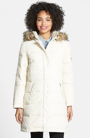 DKNY Faux Fur Trim Down & Feather Coat (Regular & Petite