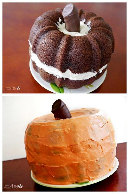 DIY Pumpkin Shaped Cake Recipe and Tutorial from How Does She. This is bundt shaped pumpkin cakes with cream cheese frosting. And for more Halloween cakes go here. What else can you make with a bundt cakes? A lot of bundt cakes? This giant snake cake from Schooled in Love. #pumpkinshapedcake DIY Pumpkin Shaped Cake Recipe and Tutorial from How Does She. This is bundt shaped pumpkin cakes with cream cheese frosting. And for more Halloween cakes go here. What else can you make with a bundt cak #pumpkinshapedcake