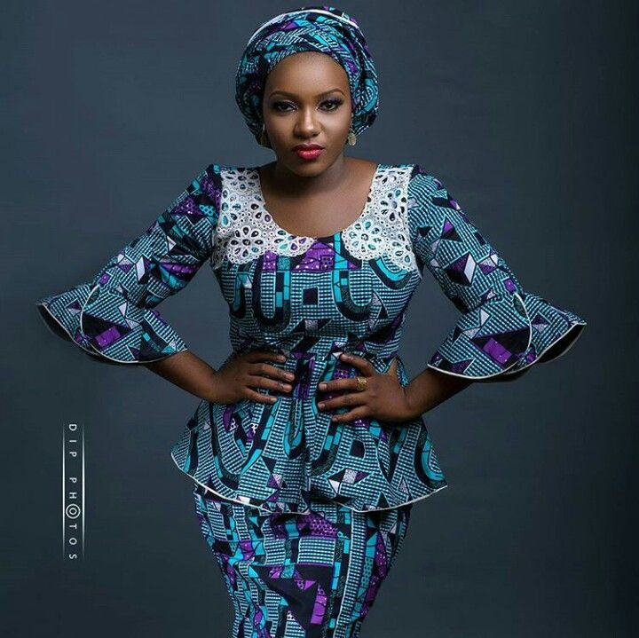 cef363b14 Lady in ankara peplum blouse with flair sleeves | African Fashion ...
