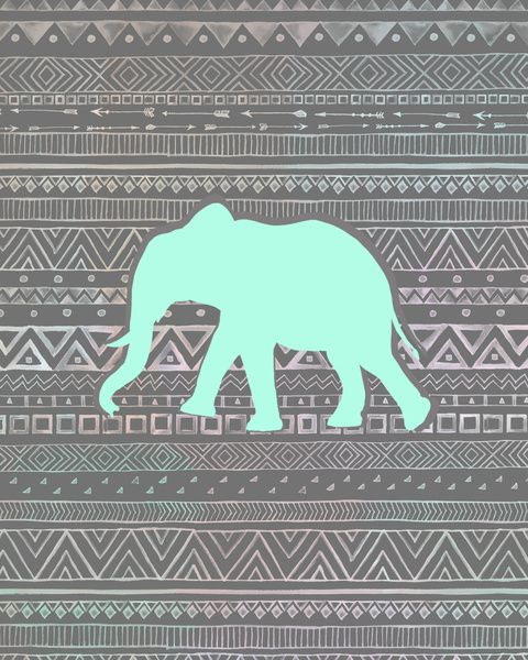 Mint Elephant Art Print By Sunkissed Laughter Society6 Cute